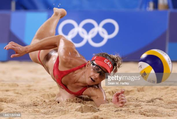Heather Bansley of Team Canada competes against Team Latvia during the Women's Quarterfinal beach volleyball on day eleven of the Tokyo 2020 Olympic...