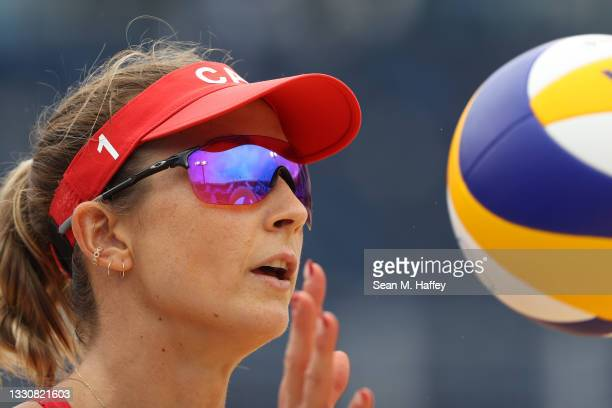 Heather Bansley of Team Canada looks on against Team Argentina during the Women's Preliminary - Pool C beach volleyball on day four of the Tokyo 2020...