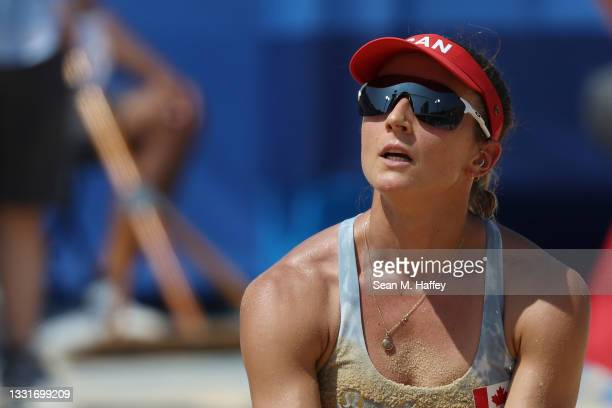 Heather Bansley of Team Canada reacts after the play against Team United States during the Women's Round of 16 beach volleyball on day nine of the...