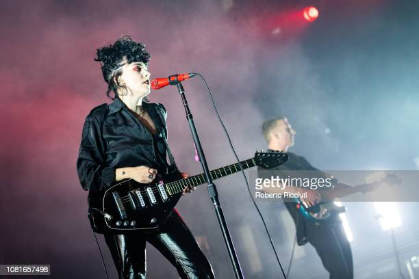 Heather BaronGracie and Charlie Wood of Pale Waves perform on stage at The SSE Hydro on January 12 2019 in Glasgow Scotland