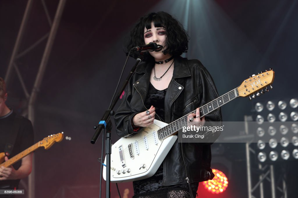 Heather Baron-Gracie of Pale Waves performs on day two of Reading Festival at Richfield Avenue on August 26, 2017 in Reading, England.