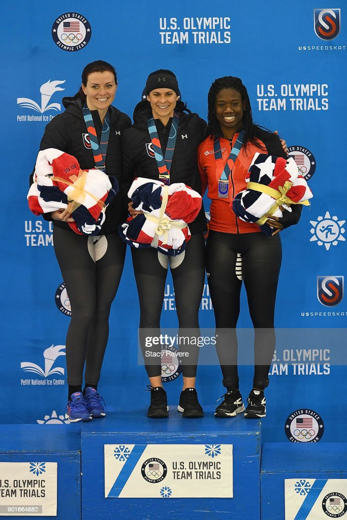 Heather Bergsma, Brittany Bowe and Erin Jackson stand on the podium following the Ladies 500 meter event during the Long Track Speed Skating Olympic Trials at the Pettit National Ice Center on January 5, 2018 in Milwaukee, Wisconsin.