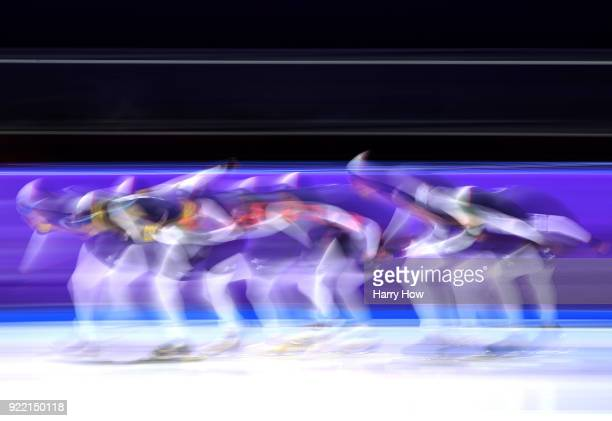 Heather Bergsma Brittany Bowe and Mia Manganello of the United States skate to a bronze medal during the Speed Skating Ladies' Team Pursuit on day 12...