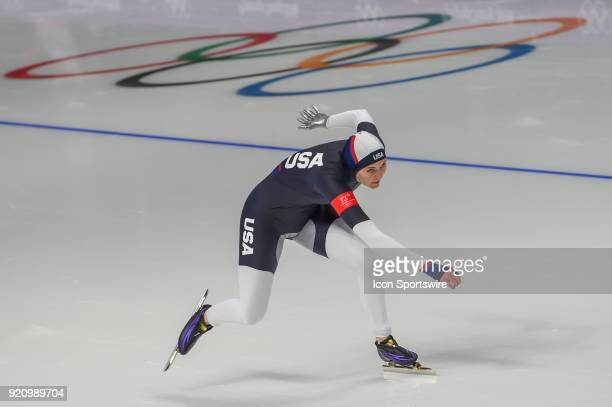 Heather Bergsma heads down the backstretch during the 1000M Ladies Final during the 2018 Winter Olympic Games at Gangneung Oval on February 14 2018...