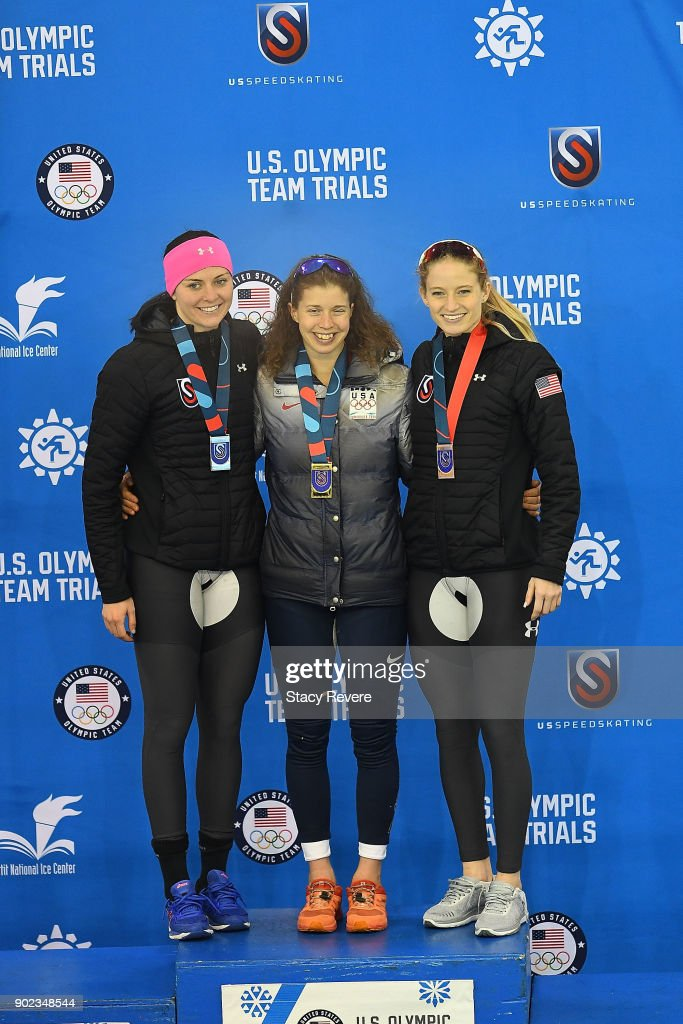 Heather Bergsma, Maria Lamb and Mia Manganello stand on the podium during the Long Track Speed Skating Olympic Trials at the Pettit National Ice Center on January 7, 2018 in Milwaukee, Wisconsin.