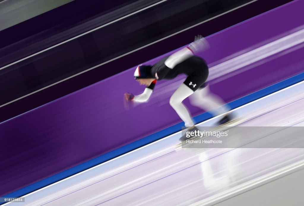 Heather Bergsma of the United States competes during the Ladies' 1000m Speed Skating on day five of the PyeongChang 2018 Winter Olympics at Gangneung Oval on February 14, 2018 in Gangneung, South Korea.