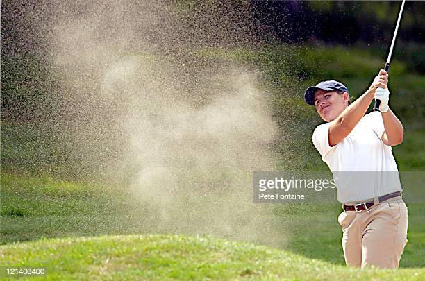 Heather Bowie blasts out of a bunker during the third round of the Weetabix Women's British Open at the Sunningdale Golf Club on July 31 2004