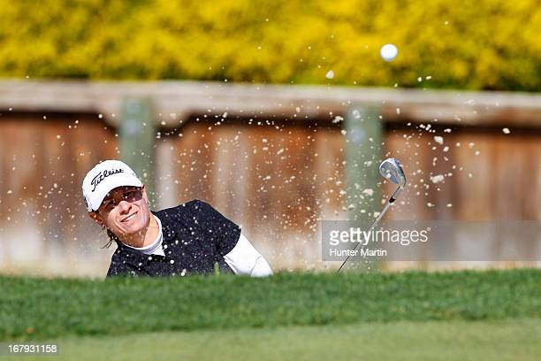 Heather Bowie Young hits her third shot on the 18th hole during the first round of the Kingsmill Championship at Kingsmill Resort on May 2 2013 in...