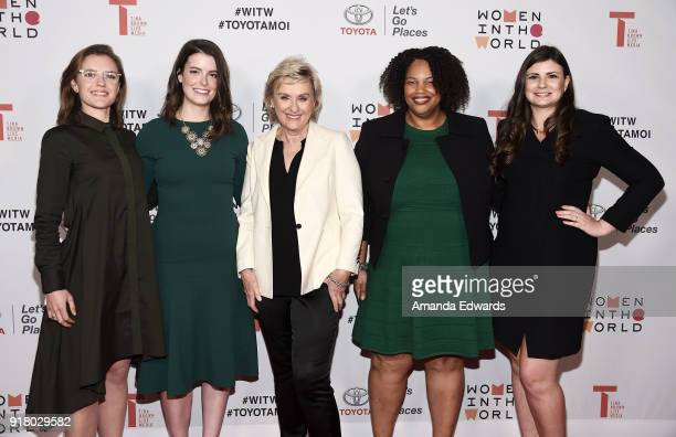 Heather Burke Emily Kennedy journalist Tina Brown Mia Phillips and Amy Cagle arrive at the 2018 Women In The World Los Angeles Salon at NeueHouse...
