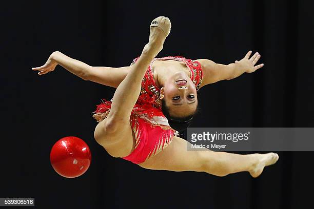 Heather Chan performs with the ball during 2016 USA Gymnastics Championships - Day 1 at the Dunkin' Donuts Center on June 10, 2016 in Providence,...