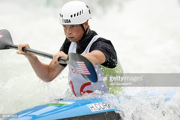Heather Corrie of the United States competes in the canoe/kayak slalom event at the Shunyi Olympic RowingCanoeing Park during Day 5 of the Beijing...