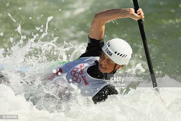 Heather Corrie of the United States competes in the whitewater women's K1 semifinals at the Shunyi Olympic RowingCanoeing Park on Day 7 of the...