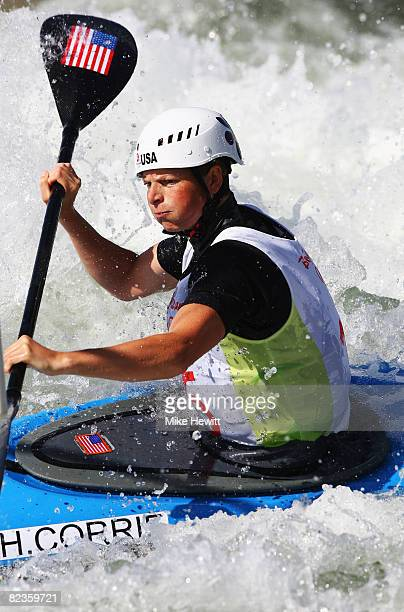 Heather Corrie of the United States competes in the whitewater women's K1 semifinals at the Shunyi Olympic Rowing-Canoeing Park on Day 7 of the...