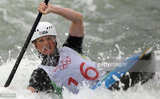 Heather Corrie of the US competes in the 2008 Beijing Olympic Games women's single Kayak K1 heats at the Shunyi Rowing and Canoeing Park in Beijing...