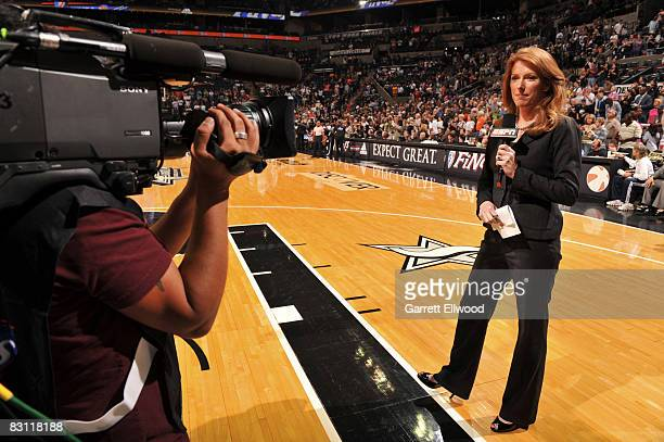 Heather Cox of ESPN does pregame of Game Two of the WNBA Finals on October 3 2008 at ATT Center in San Antonio Texas NOTE TO USER User expressly...