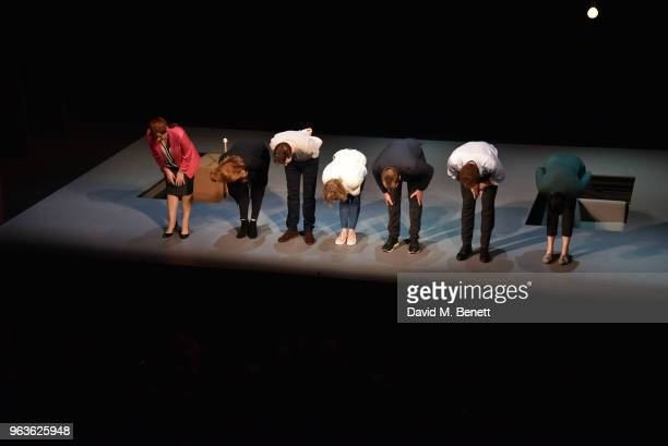 Heather Craney Clare Foster Lee Ingleby Claudie Blakley Stephen Campbell Moore Adam James and Sian Clifford bow at the curtain call during the press...