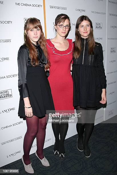 Heather D'Angelo Annie Hart and Erika Forster of Au Revoir Simone attends a screening of Rachel Getting Married hosted by The Cinema Society and...