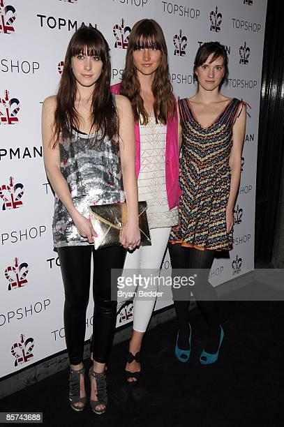 Heather D'Angelo Erika Foretser and Annie Hart of the group Au Revoir Simone attend the Arcadia Group's celebration of the launch of TOPSHOP TOPMAN...