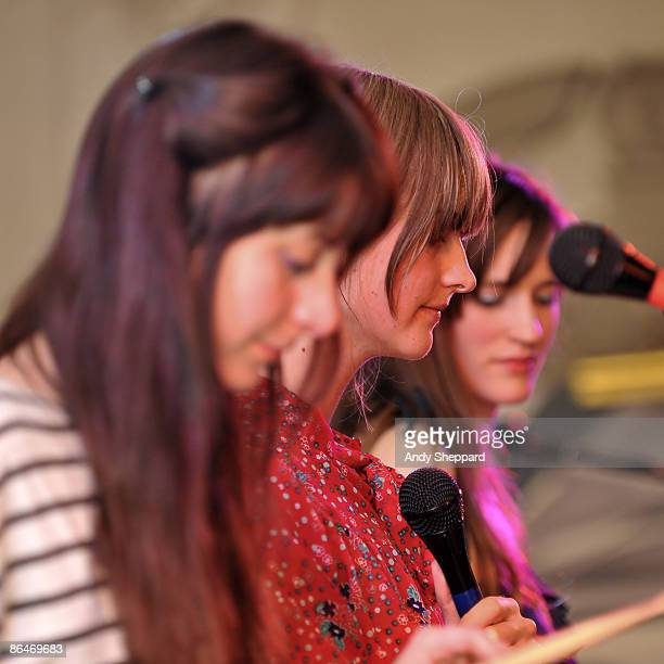 Heather D'Angelo Erika Forster and Annie Hart of Au Revoir Simone perform on stage at Bush Hall on May 6 2009 in London England