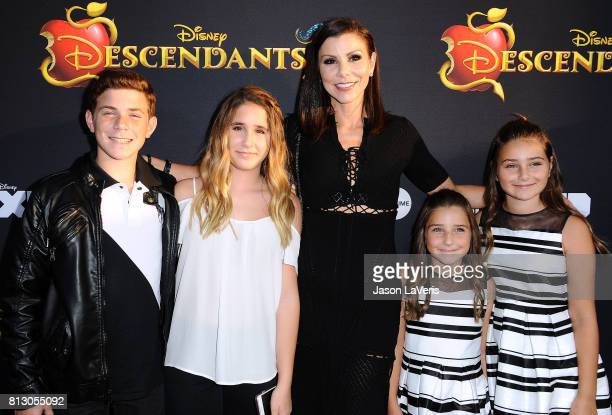 Heather Dubrow and children Nicholas Dubrow Maximillia Dubrow Katarina Dubrow and Collette Dubrow attend the premiere of 'Descendants 2' at The...