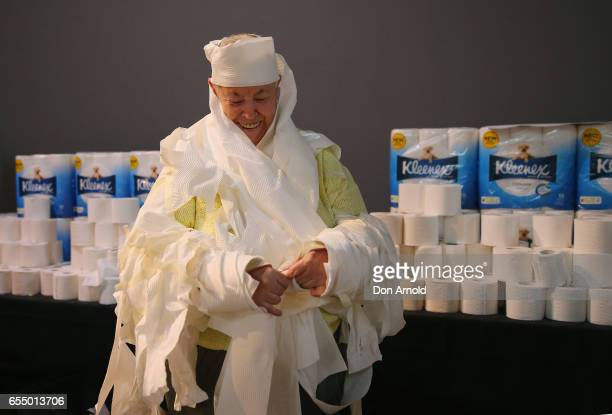 Heather Ellis applies the finishing touches to her costume at Powerhouse Museum on March 19 2017 in Sydney Australia A total of XXX people wrapped...
