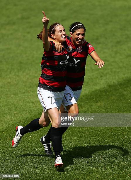 Heather Garriock of the Wanderers celebrates with Catherine Cannuli after scoring the secong goal during the round five WLeague match between the...
