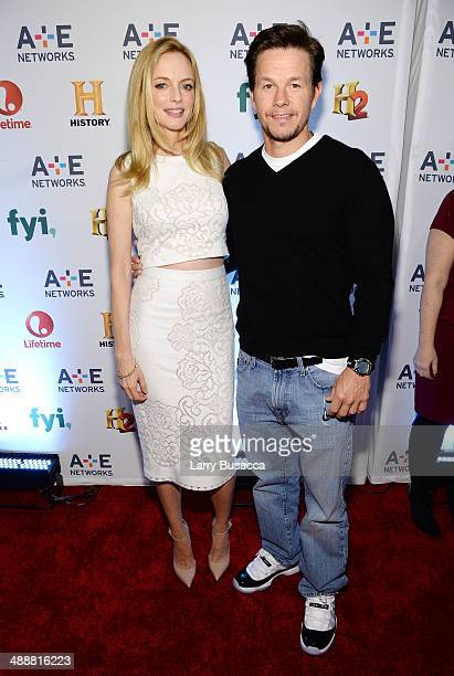 Heather Graham and Mark Wahlberg attend the 2014 AE Networks Upfront on May 8 2014 in New York City