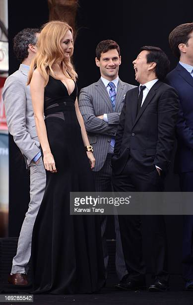 Heather Graham Justin Bartha and Ken Jeong attend The Hangover III UK film premiere at The Empire Cinema on May 22 2013 in London England