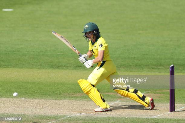 Heather Graham of Australia A Women bats during the match between England Women and Australia A Women at Haslegrave Ground on June 29 2019 in...