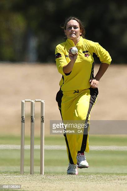 Heather Graham of the Fury bowls during the WNCL match between Tasmania and Western Australia at Park 25 on November 21 2015 in Adelaide Australia