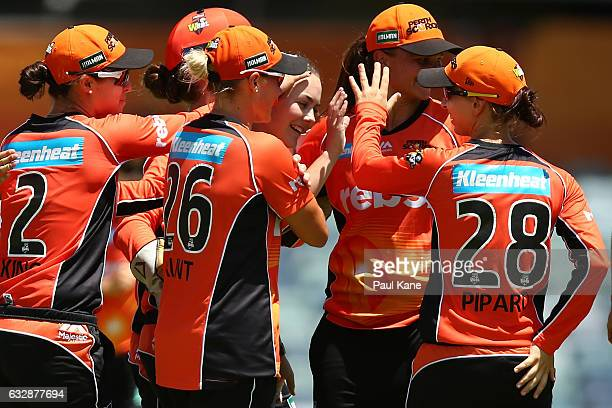 Heather Graham of the Scorchers celebrates the wicket of Sara McGlashan of the Sixers during the Women's Big Bash League match between the Perth...