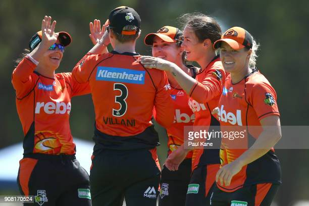 Heather Graham of the Scorchers celebrates the wicket of Veronica Pyke of the Hurricanes during the Women's Big Bash League match between the Hobart...