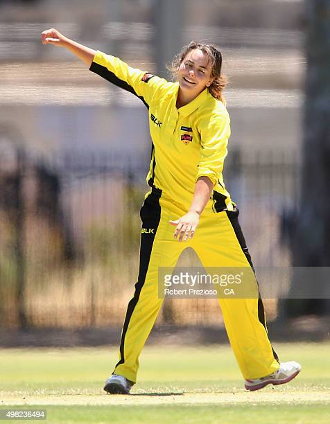 Heather Graham of Western Australia celebrates after taking the wicket of Ash Barty of Queensland during the WNCL match between Queensland and...