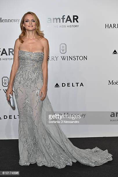 Heather Graham walks the red carpet of amfAR Milano 2016 at La Permanente on September 24 2016 in Milan Italy