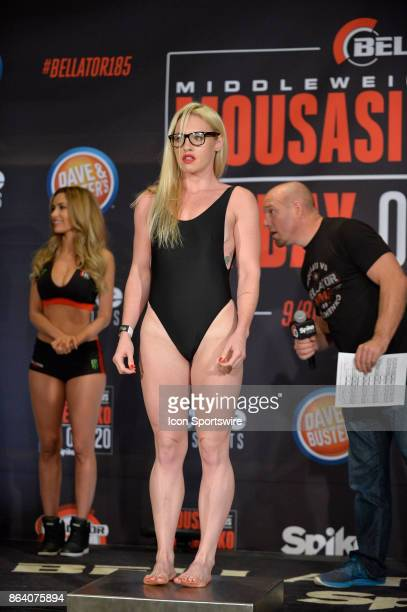 Heather Hardy pose for photos at the weighin Heather Hardy will be challenging Kristina Williams in a Flyweight bout on October 19 2017 at Bellator...