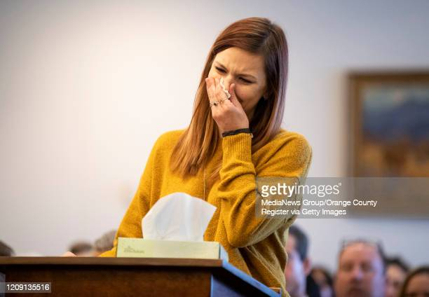 Heather Hawley sister of Brooke Hawley pauses during a victim impact statement at the sentencing of Bani Duarte in court in Santa Ana CA on Thursday...