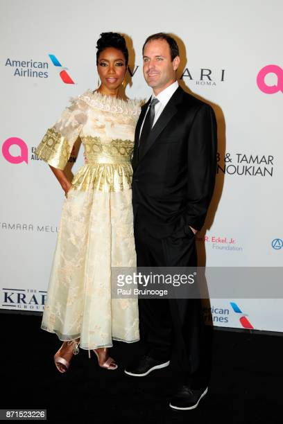 Heather Headley and Brian Musso attend the Elton John AIDS Foundation Commemorates Its 25th Year And Honors Founder Sir Elton John During New York...