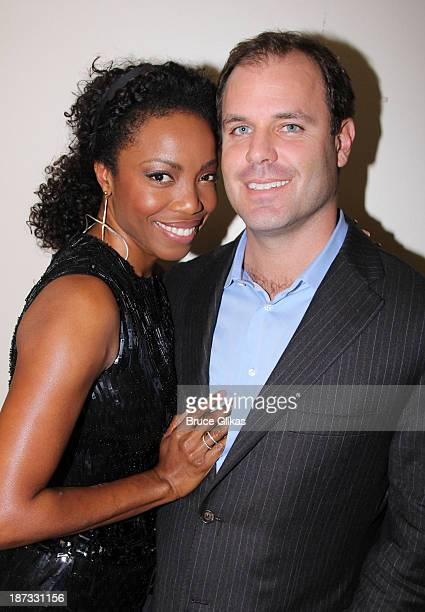 Heather Headley and husband Brian Musso pose backstage at Il Divo A Musical Affair The Greatest Songs of Broadway featuring Heather Headley on...