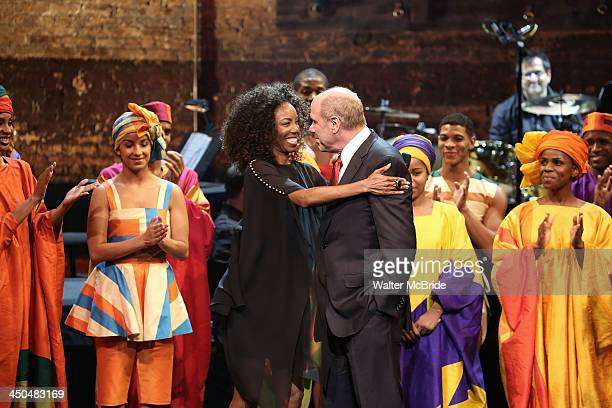 Heather Headley and Michael Eisner with Cast during the Curtain Call for The New 42nd Street honors Michael D Eisner at The New Victory Theater on...