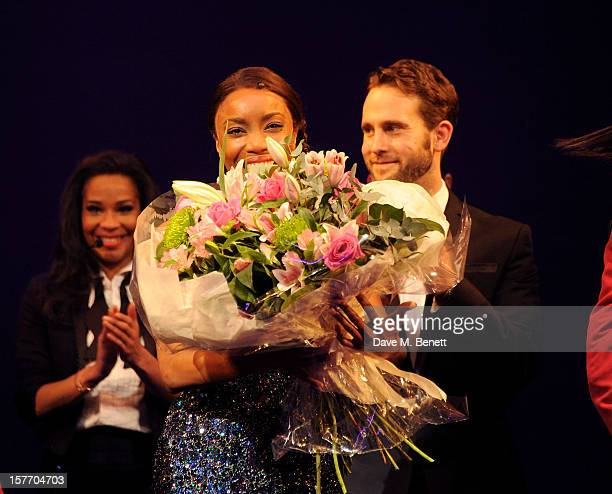 Heather Headley bows at the curtain call during the press night performance of 'The Bodyguard' at the Adelphi Theatre on December 5 2012 in London...