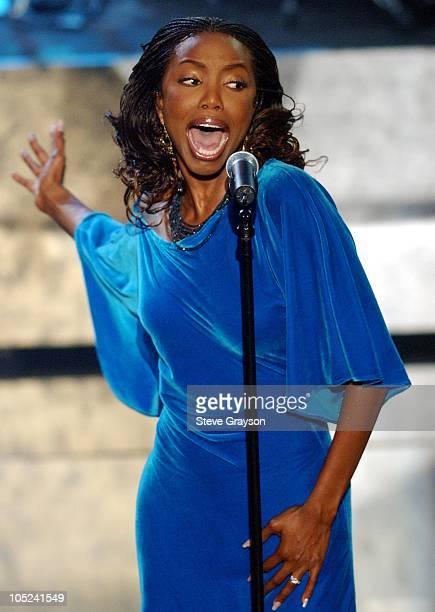 Heather Headley performs 'I Wish I Was'nt' during 9th Annual Soul Train Lady of Soul Awards Show in Pasadena California United States