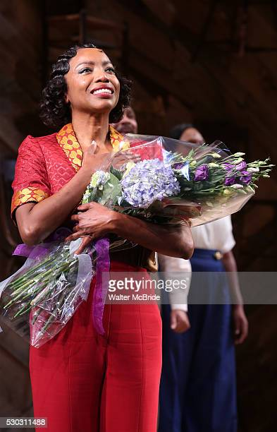 Heather Headley taking her first curtain call in 'The Color Purple' at the Bernard B Jacobs Theatre on May 10 2016 in New York City