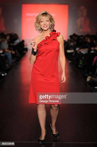 Heather Hiscox walks the runway wearing Canadian Heart Truth Red Dress' Fall 2008 Collection at L'Oreal Toronto Fashion Week on March 18 2008 in...