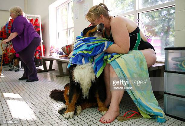 Heather Hovley of North Reading gives her Bernese Mountain dog Gunther a kiss as she towels him off after he went for a swim during the annual Puppy...