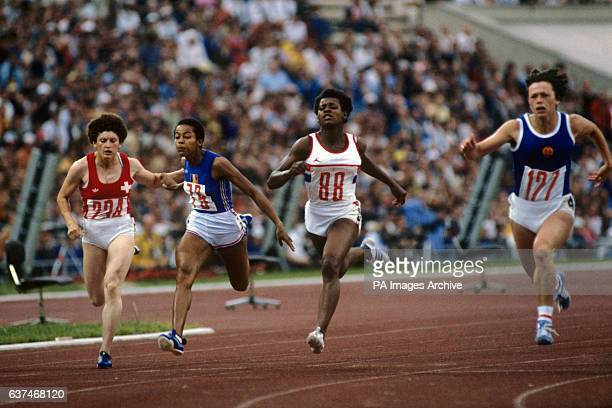 Heather Hunte of Great Britain no 88 in the Women's 100m heat in the Lenin Stadium Moscow She won the bronze medal along with Beverly Goddard Sonia...