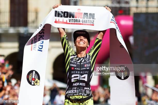 Heather Jackson of USA celebrates winning IRONMAN Vitoria on July 14 2019 in Vitoria Spain