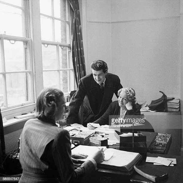 Heather Jenner founder of the Marriage Bureau dating agency in Bond Street London registers a new client repertory actor John McRea December 1952 On...