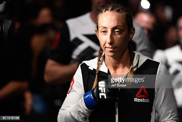 Heather Jo Clark of the United States prepares to enter the Octagon before facing Alexa Grasso of Mexico in their women's strawweight bout during the...