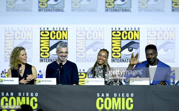 "Heather Kadin, Alex Kurtzman, Sonequa Martin-Green, and David Ajala speak at the ""Enter The Star Trek Universe"" Panel during 2019 Comic-Con..."