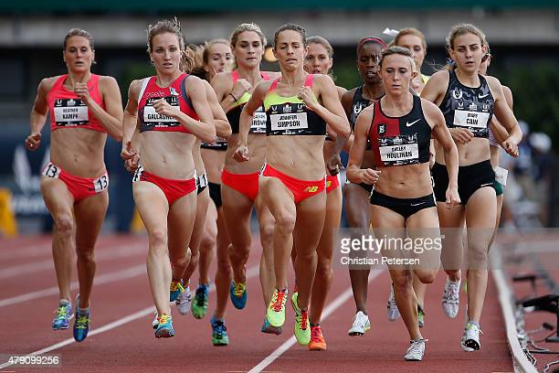 Heather Kampf Kerri Gallagher Jennifer Simpson Shelby Houlihan and Mary Cain compete in the Women's 1500 Meter Run final during day four of the 2015...